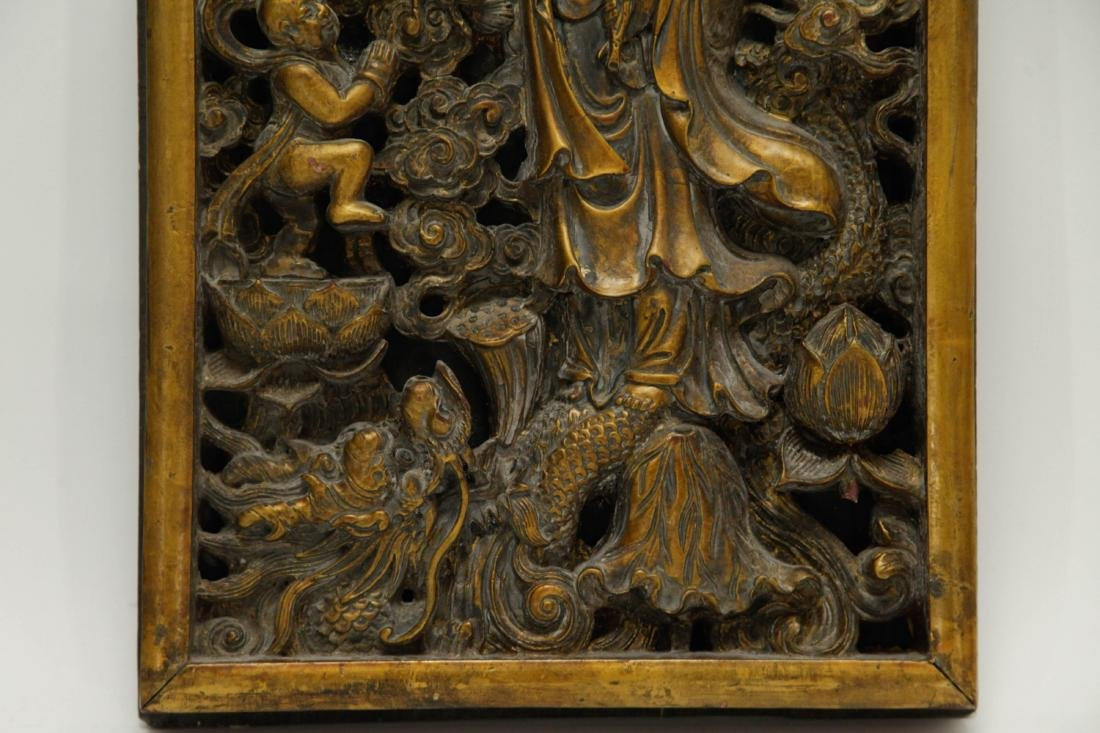 Chinese Wood Carved of Guanyin and Boy - 5