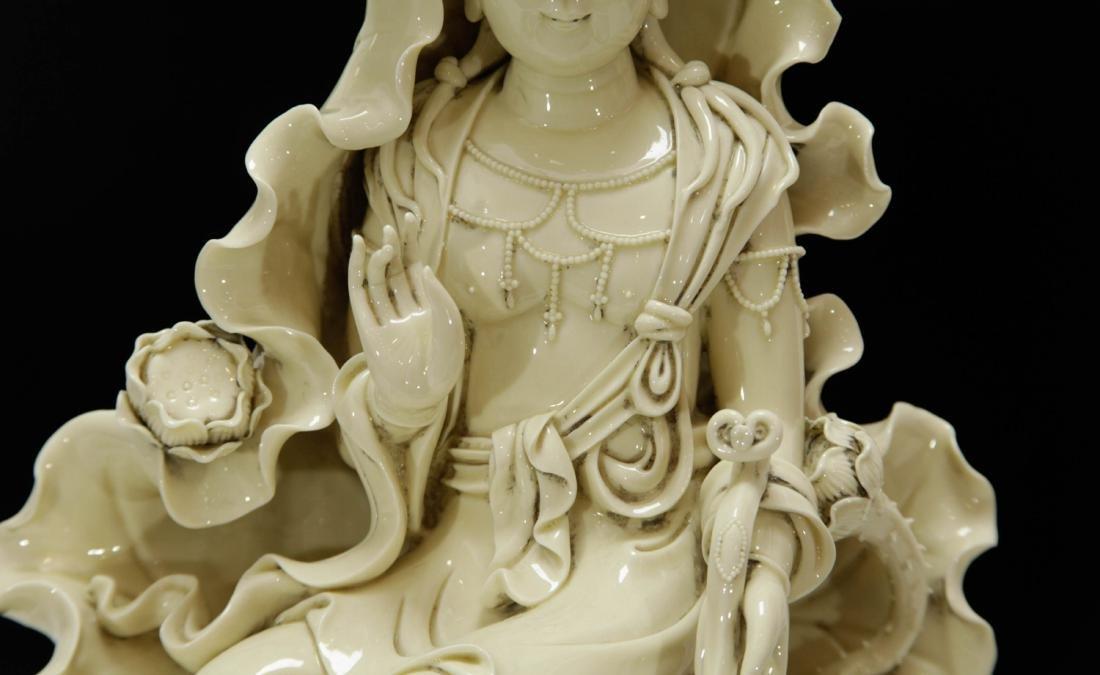 Chinese Blanc De Porcelain Guanyin w/ Mark - 3
