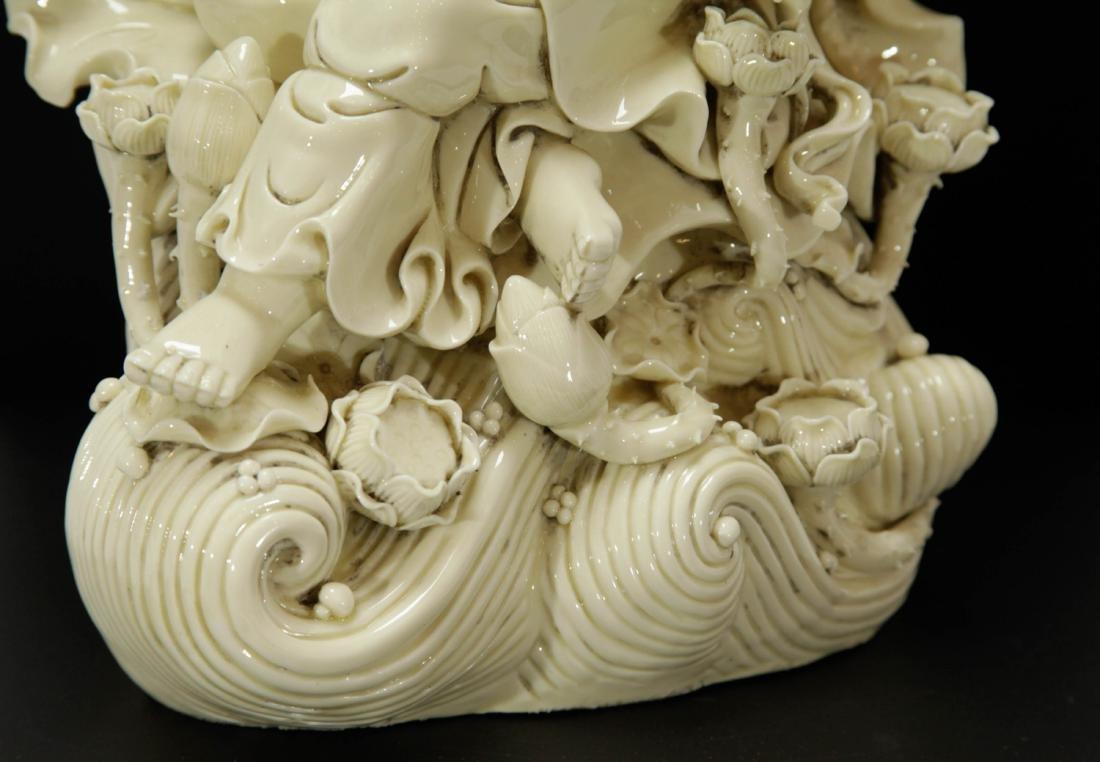 Chinese Blanc De Porcelain Guanyin w/ Mark - 4