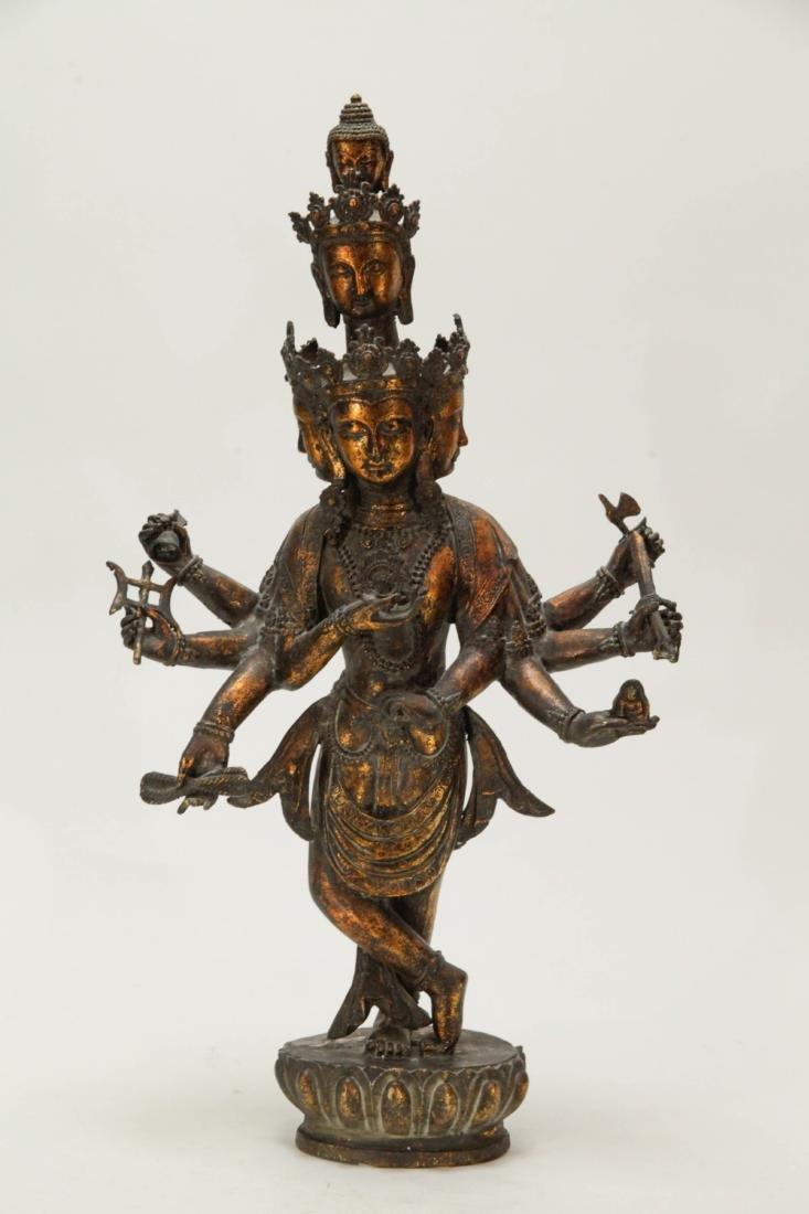 Tibetan Bronze Multiple Heads Buddha