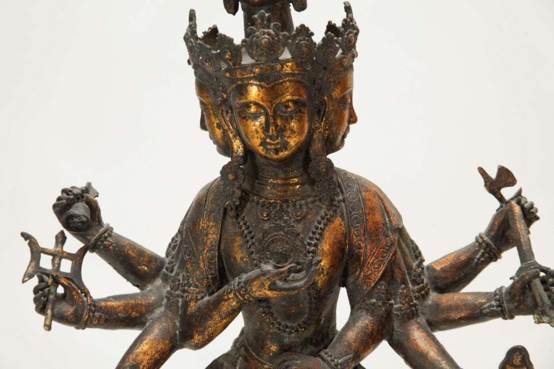 Tibetan Bronze Multiple Heads Buddha - 3
