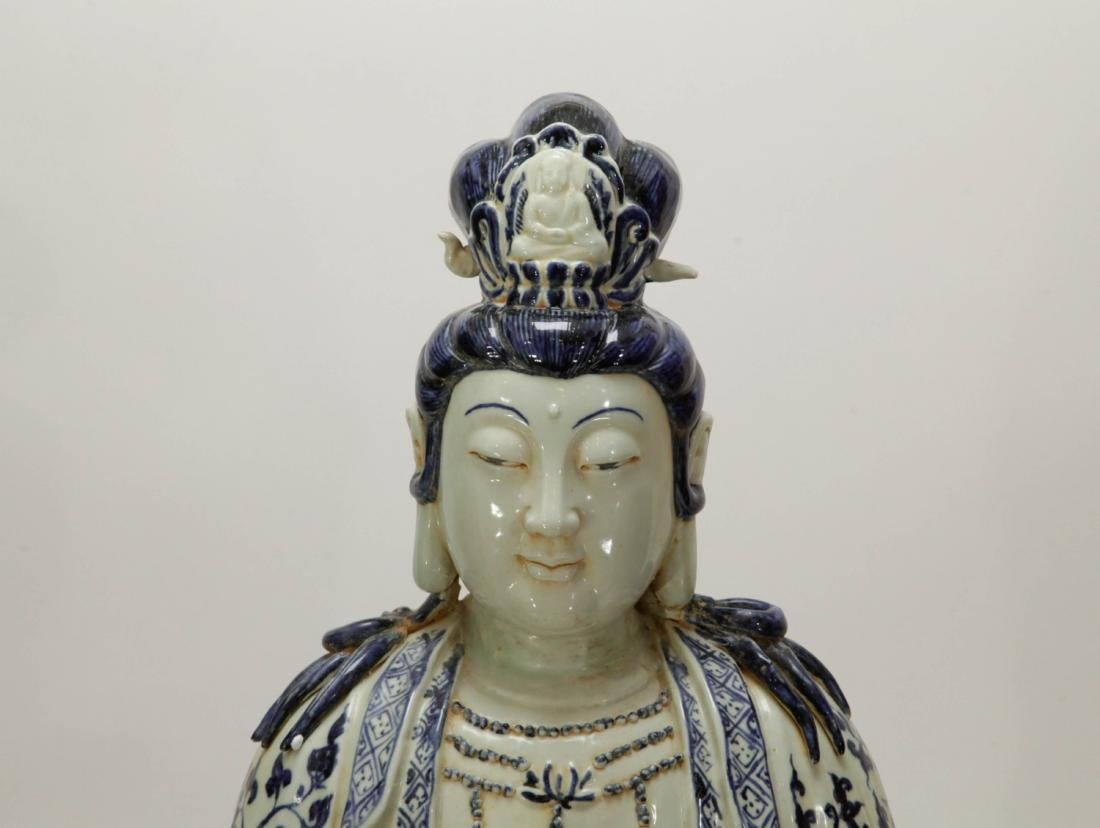Chinese Porcelain Blue/White Guanyin - 2