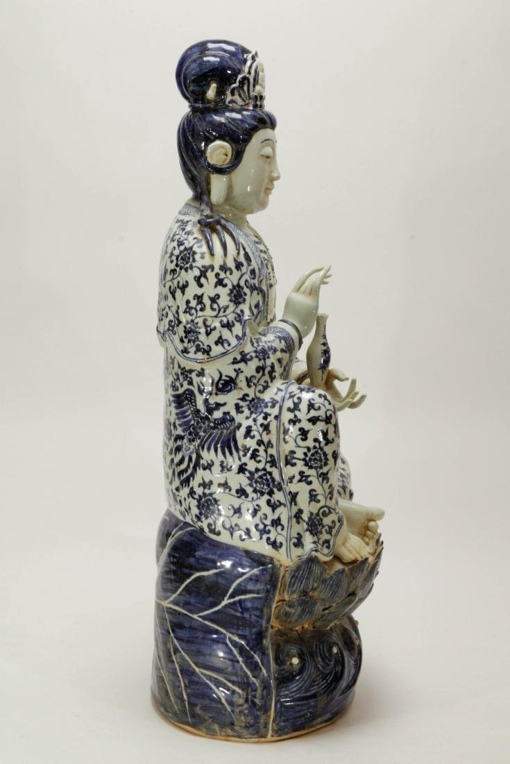 Chinese Porcelain Blue/White Guanyin - 5