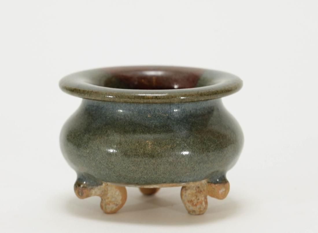 Chinese Jun Style Porcelain Tripod Censer