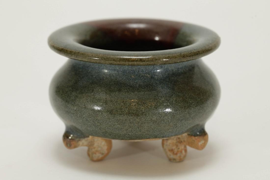 Chinese Jun Style Porcelain Tripod Censer - 2
