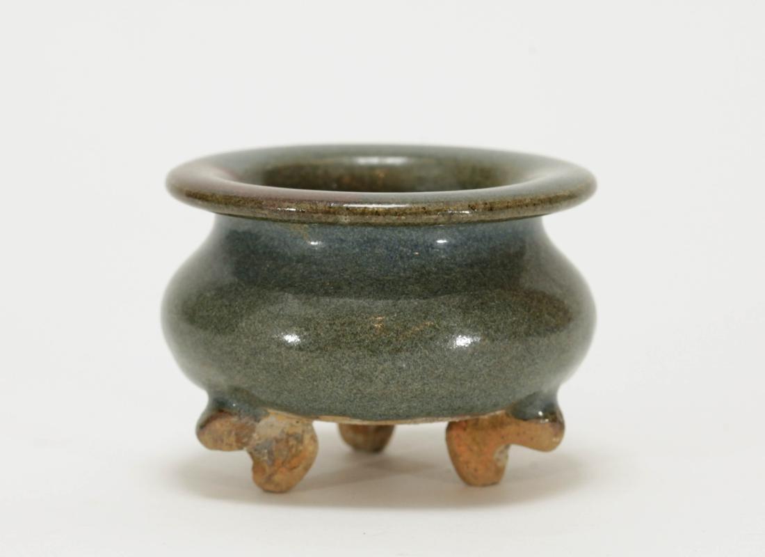 Chinese Jun Style Porcelain Tripod Censer - 3