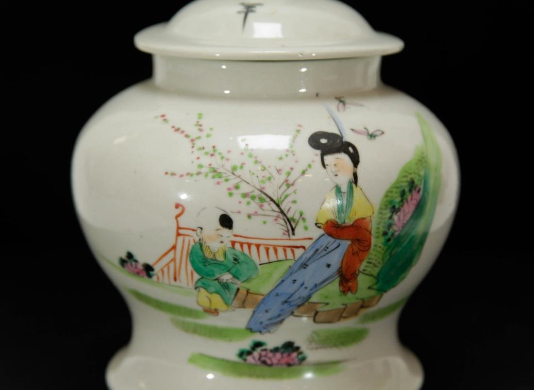 Chinese Porcelain Famille Rose CoverJar w/Lady&Boy - 2