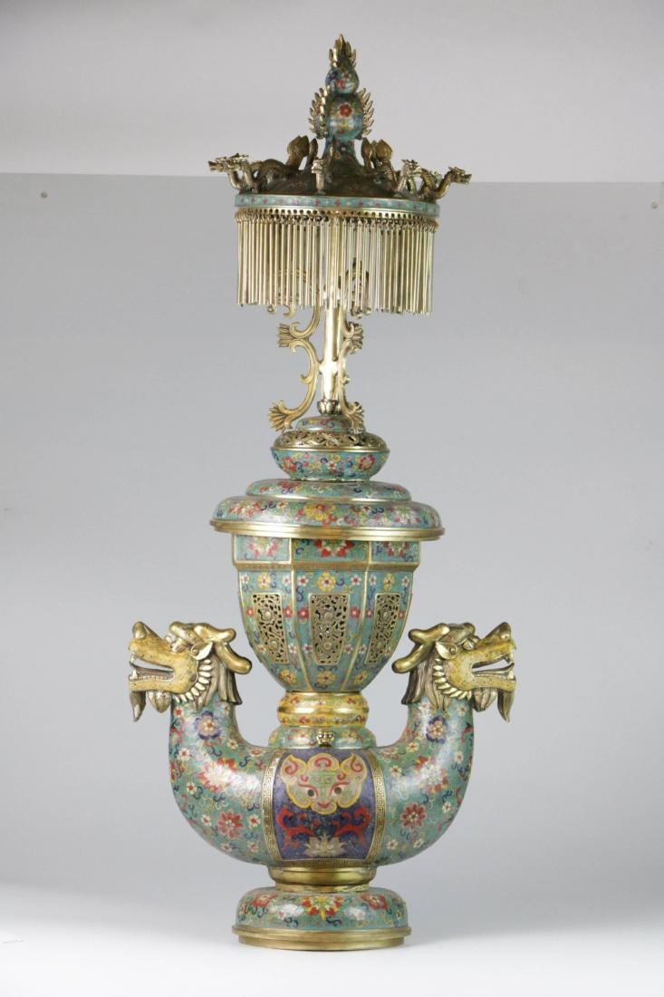 Chinese enameled bronze lamp