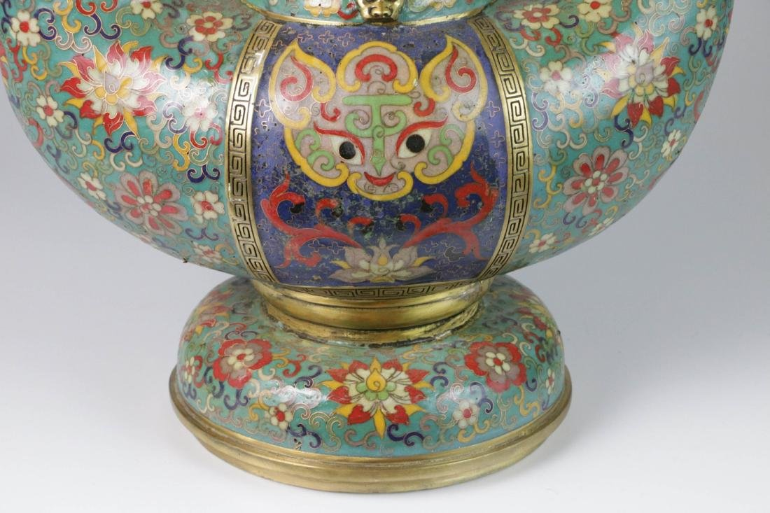 Chinese enameled bronze lamp - 2