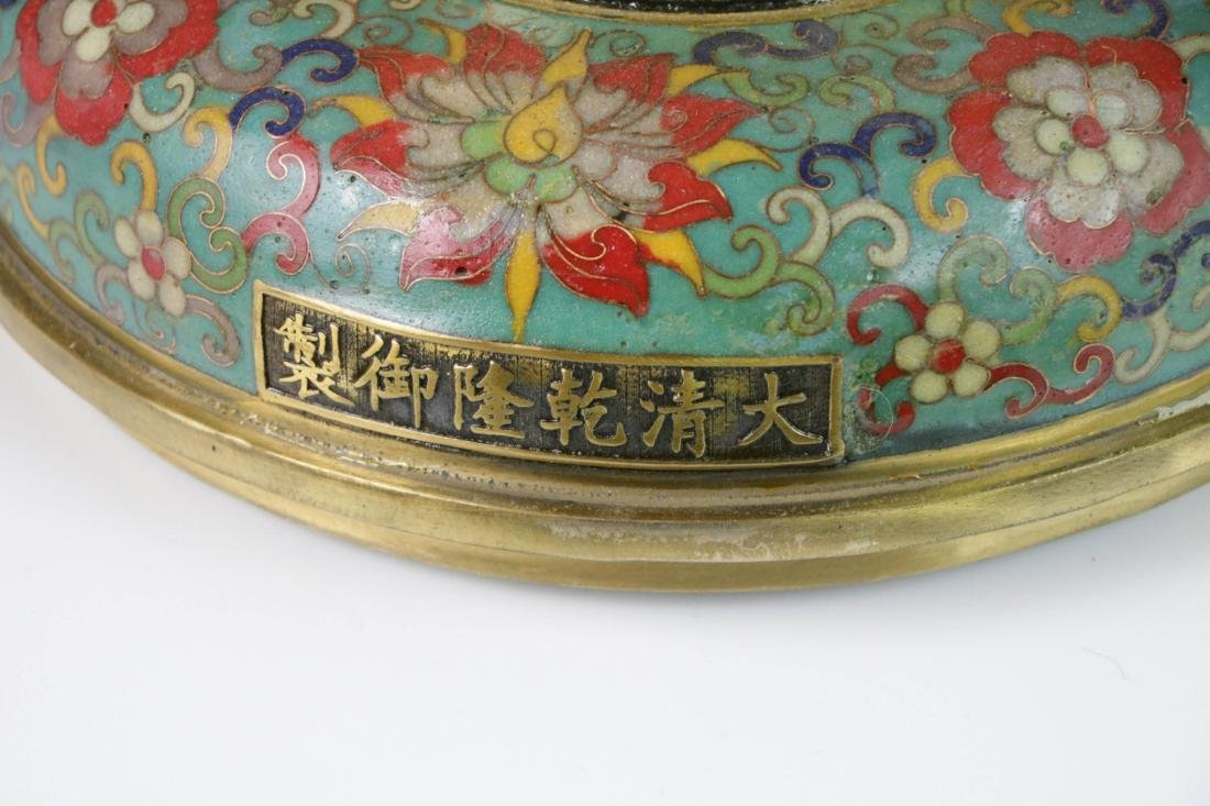 Chinese enameled bronze lamp - 5