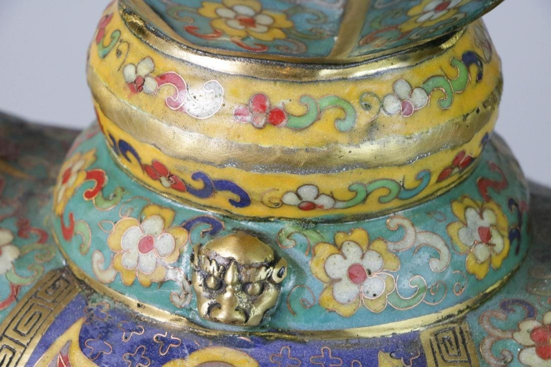 Chinese enameled bronze lamp - 6