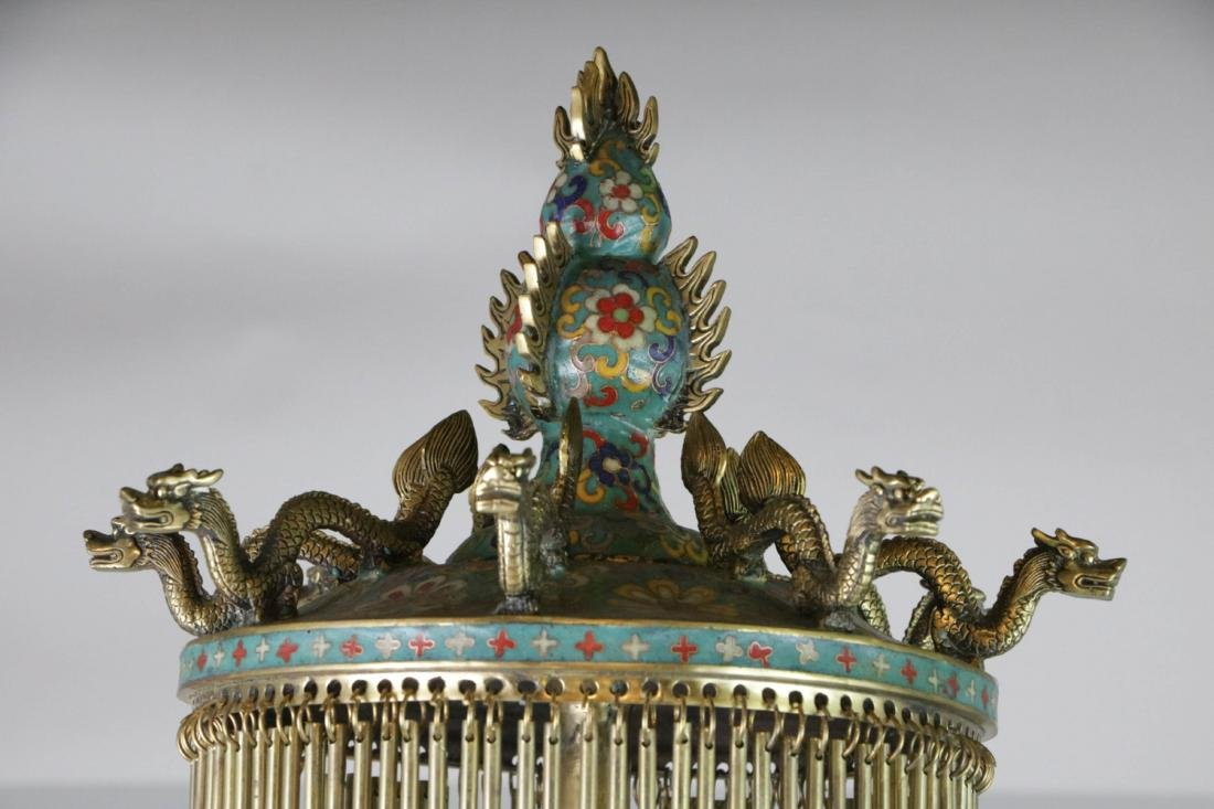 Chinese enameled bronze lamp - 9