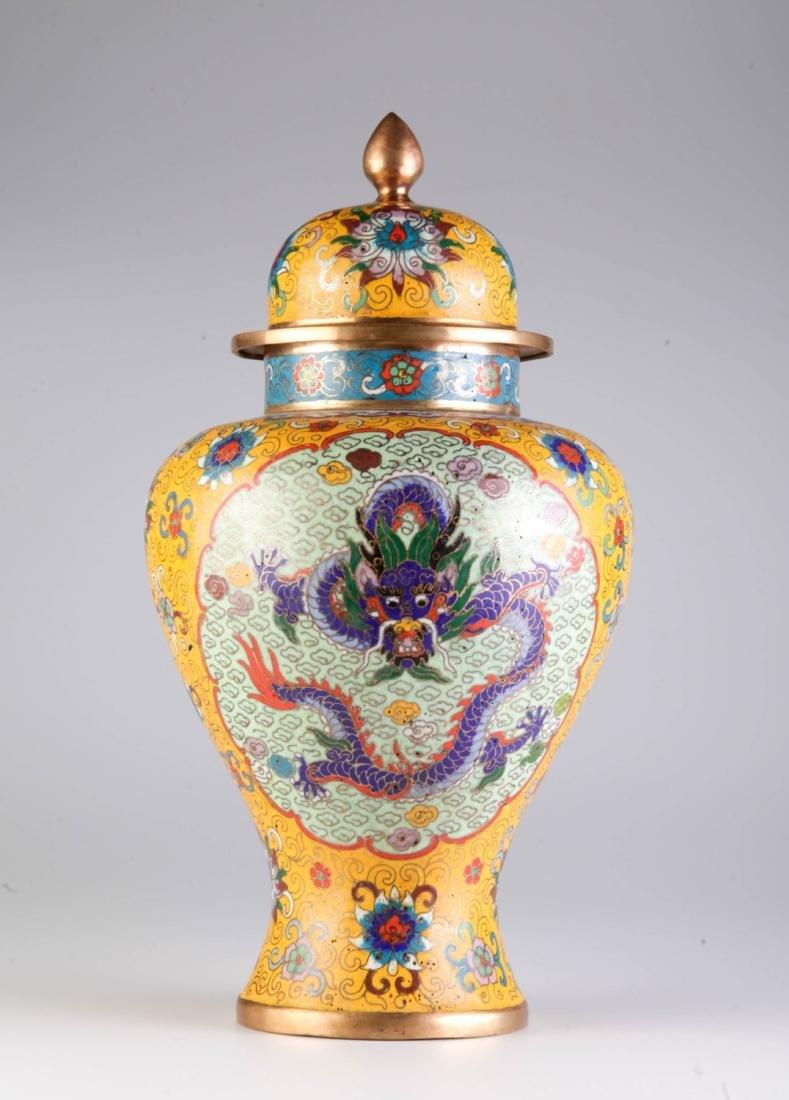 Chinese Cloisonne Vase w/ Mark