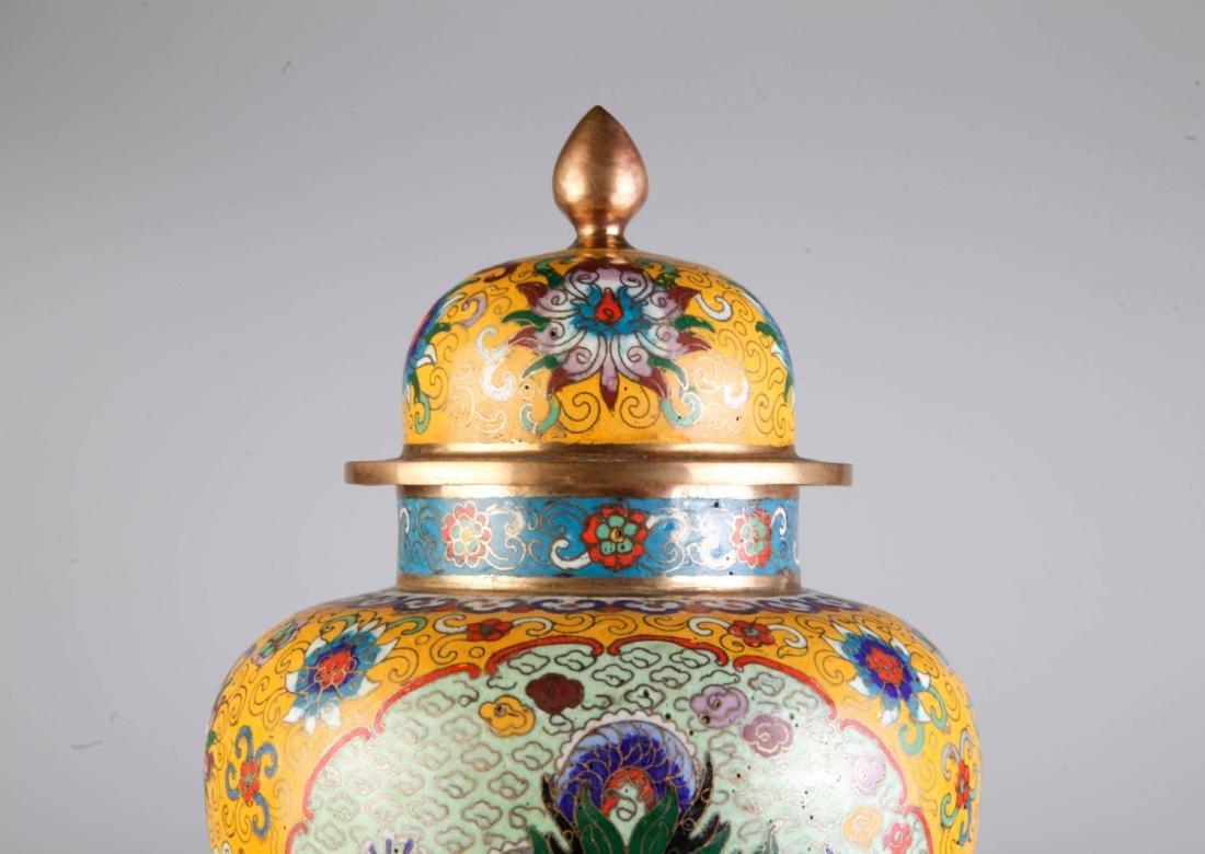 Chinese Cloisonne Vase w/ Mark - 2