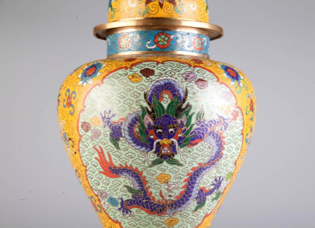 Chinese Cloisonne Vase w/ Mark - 3