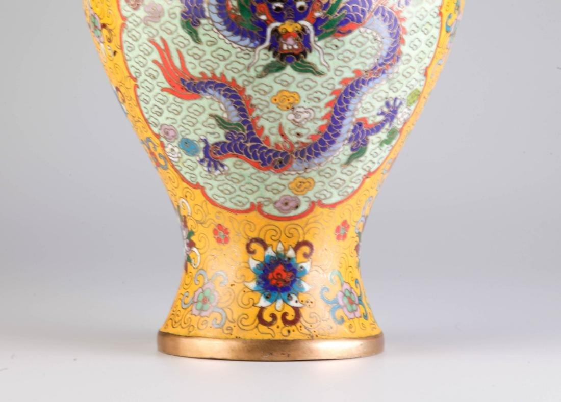 Chinese Cloisonne Vase w/ Mark - 4