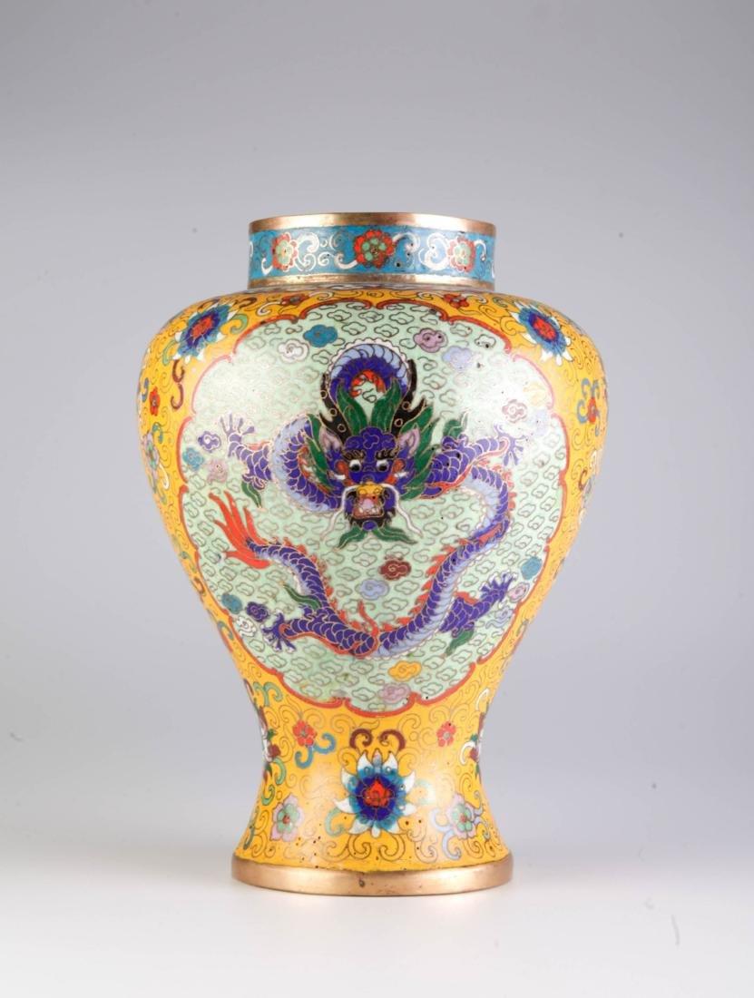 Chinese Cloisonne Vase w/ Mark - 5