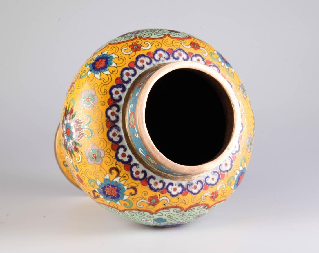 Chinese Cloisonne Vase w/ Mark - 6