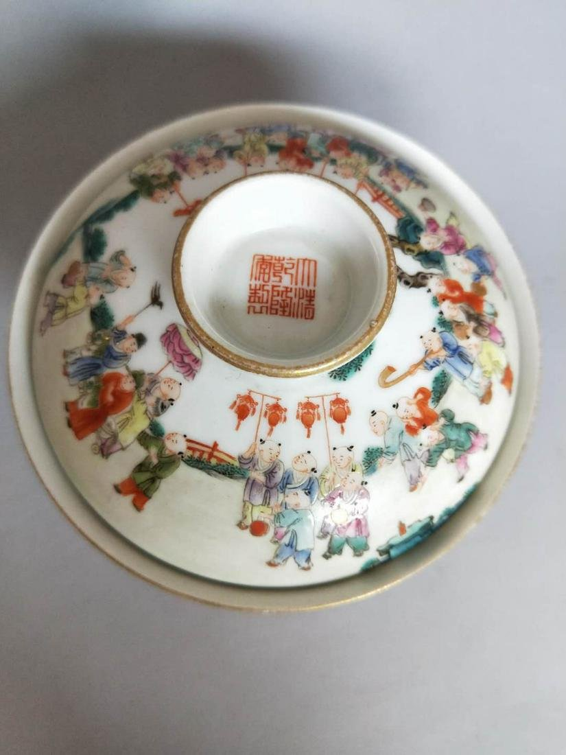 Chinese Famille Rose Porcelain Cover Bowl - 2