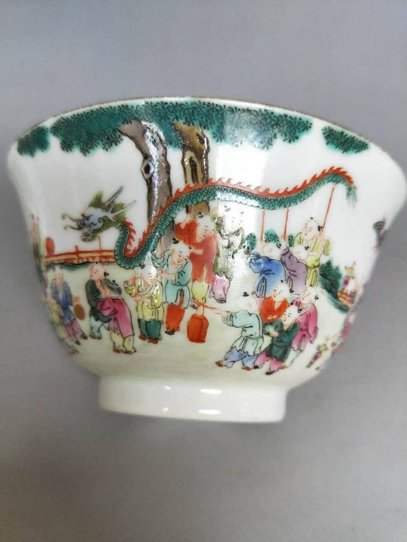 Chinese Famille Rose Porcelain Cover Bowl - 3