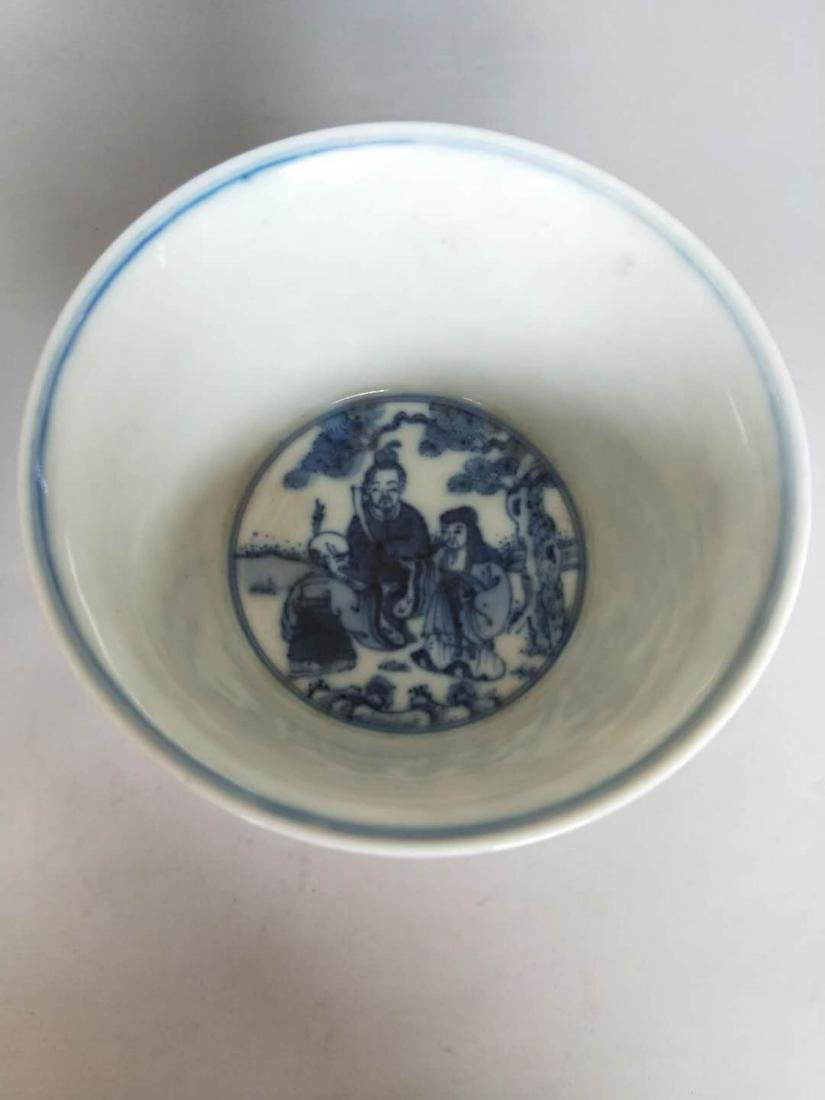 Chinese Blue And White Porcelain High Foot Cup - 2