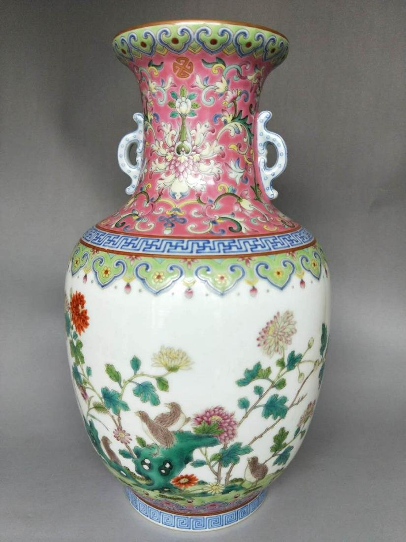 Chinese Famille Rose Double Ears Porcelain Vase