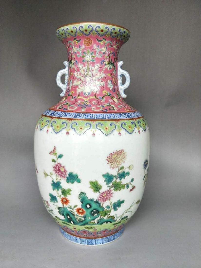 Chinese Famille Rose Double Ears Porcelain Vase - 2