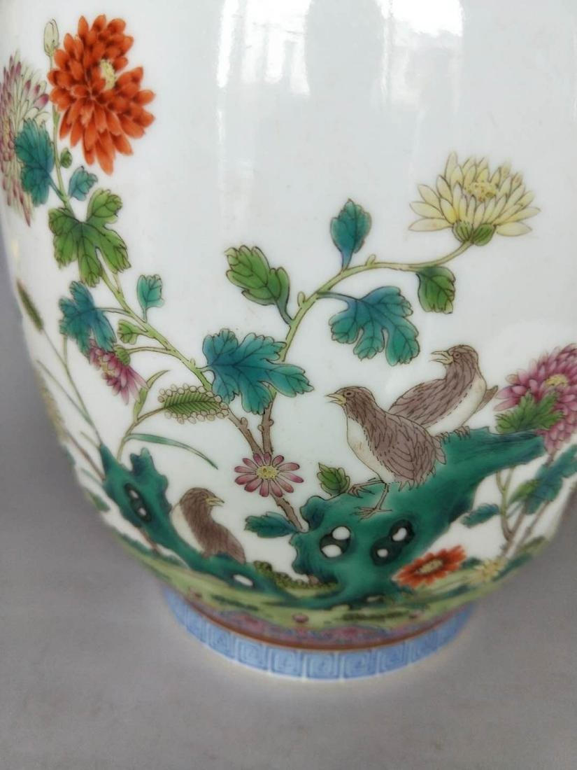 Chinese Famille Rose Double Ears Porcelain Vase - 3