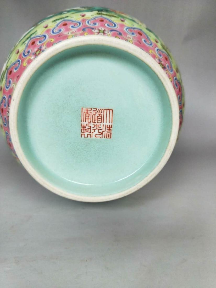 Chinese Famille Rose Double Ears Porcelain Vase - 4