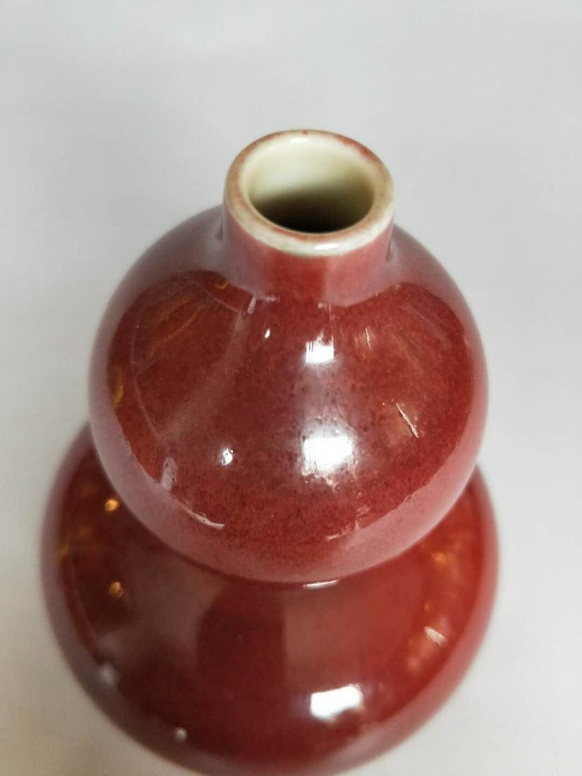 Chinese Red Glaze Porcelain Gourd Vase - 2