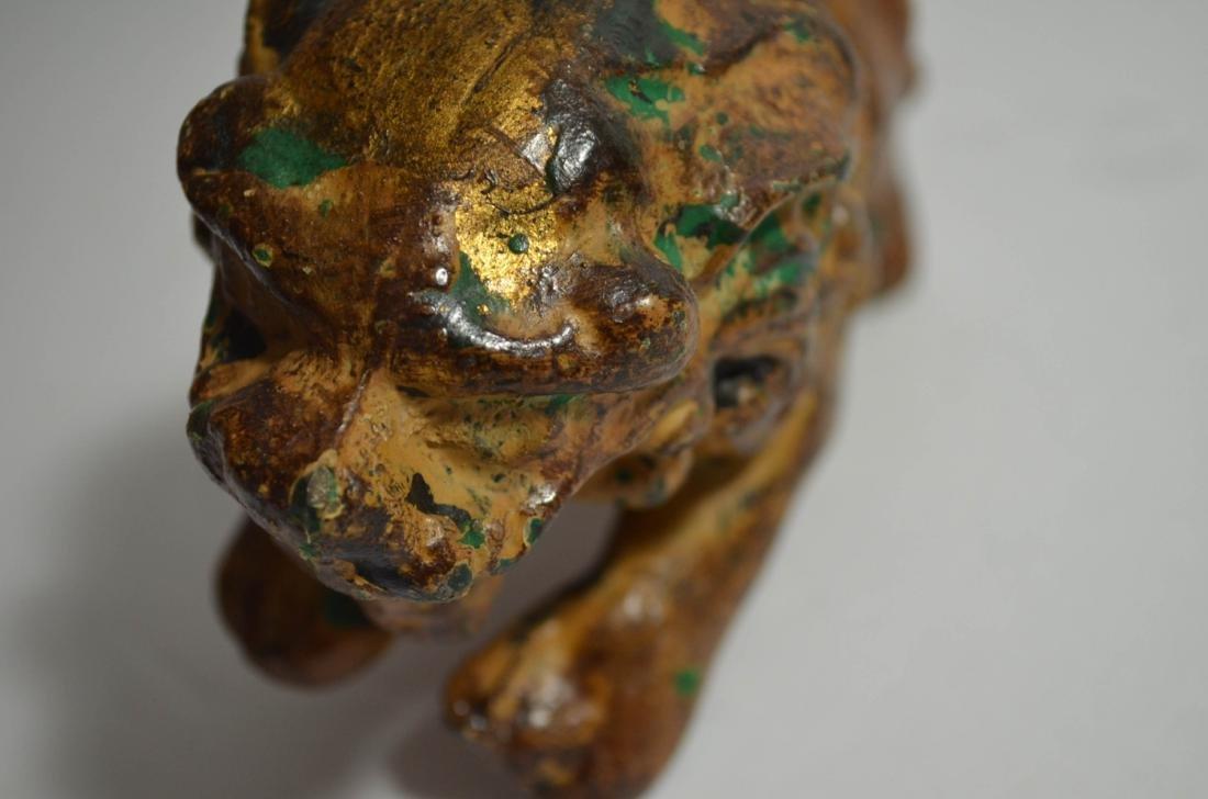 19th C. Iron gilt lion with mark - 6