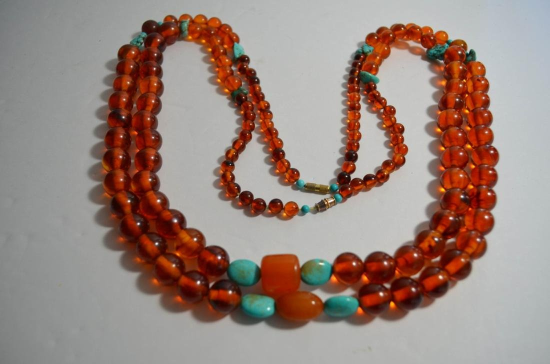 Two pieces of amber and turquoise necklaces - 2