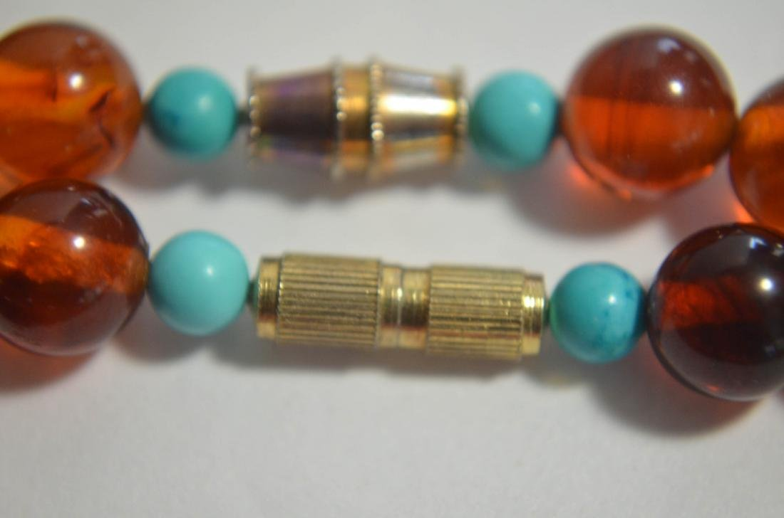 Two pieces of amber and turquoise necklaces - 9