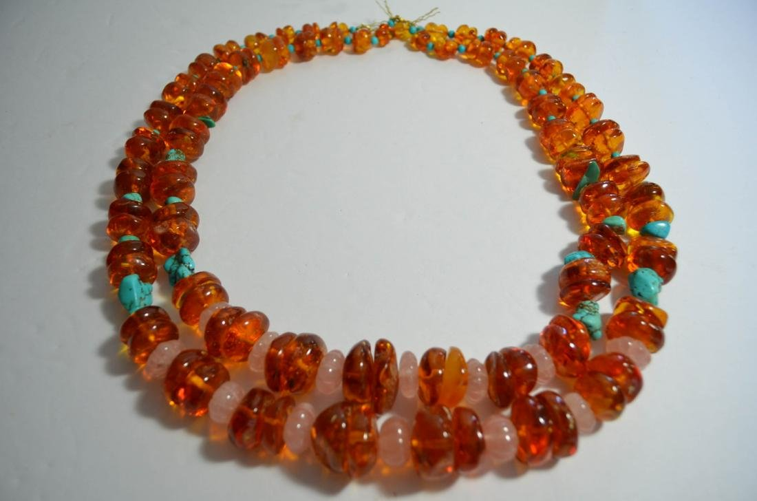 Two Amber and Turquoise Necklaces