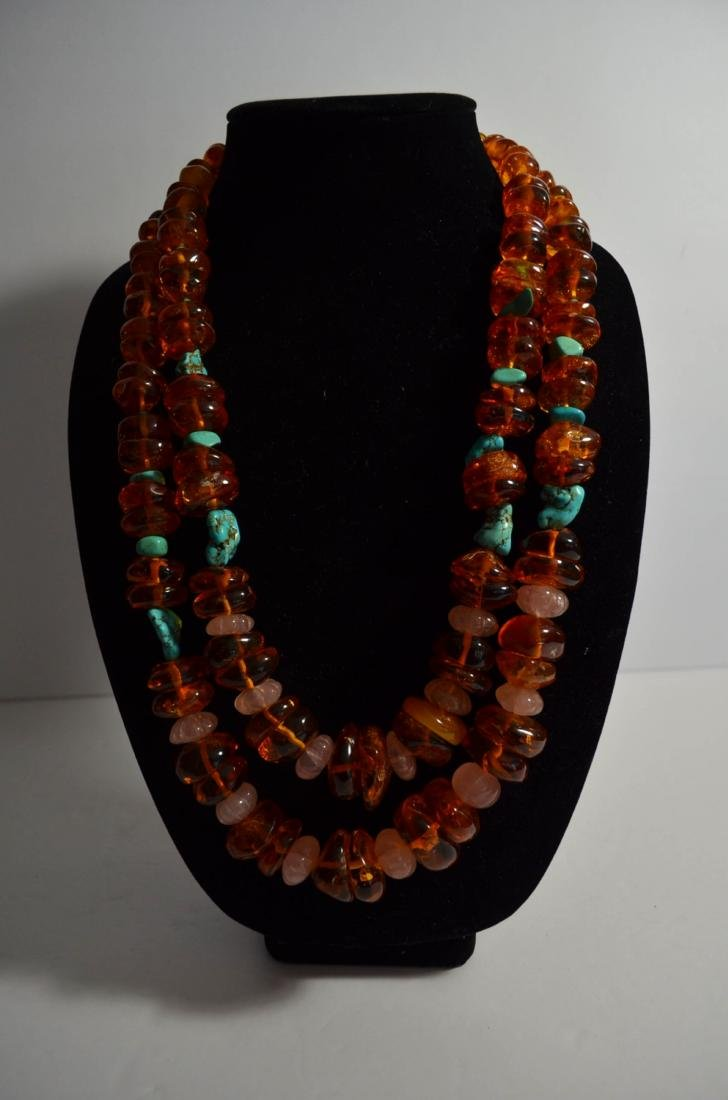 Two Amber and Turquoise Necklaces - 2