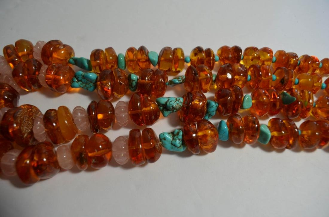 Two Amber and Turquoise Necklaces - 3