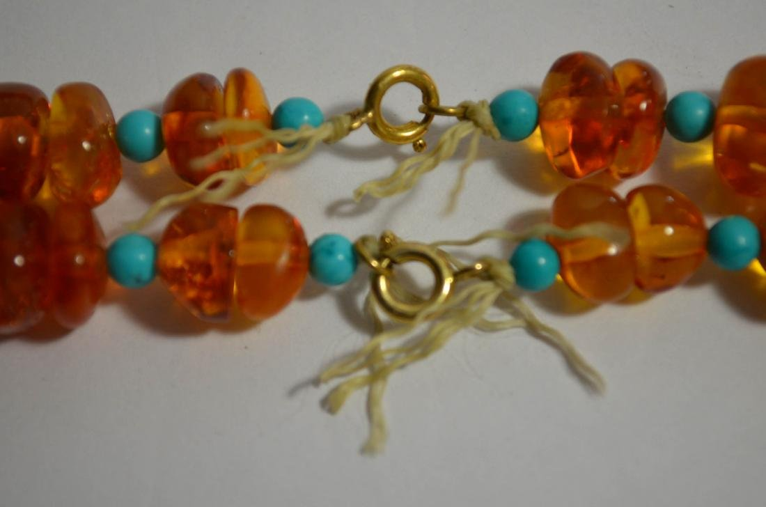 Two Amber and Turquoise Necklaces - 4