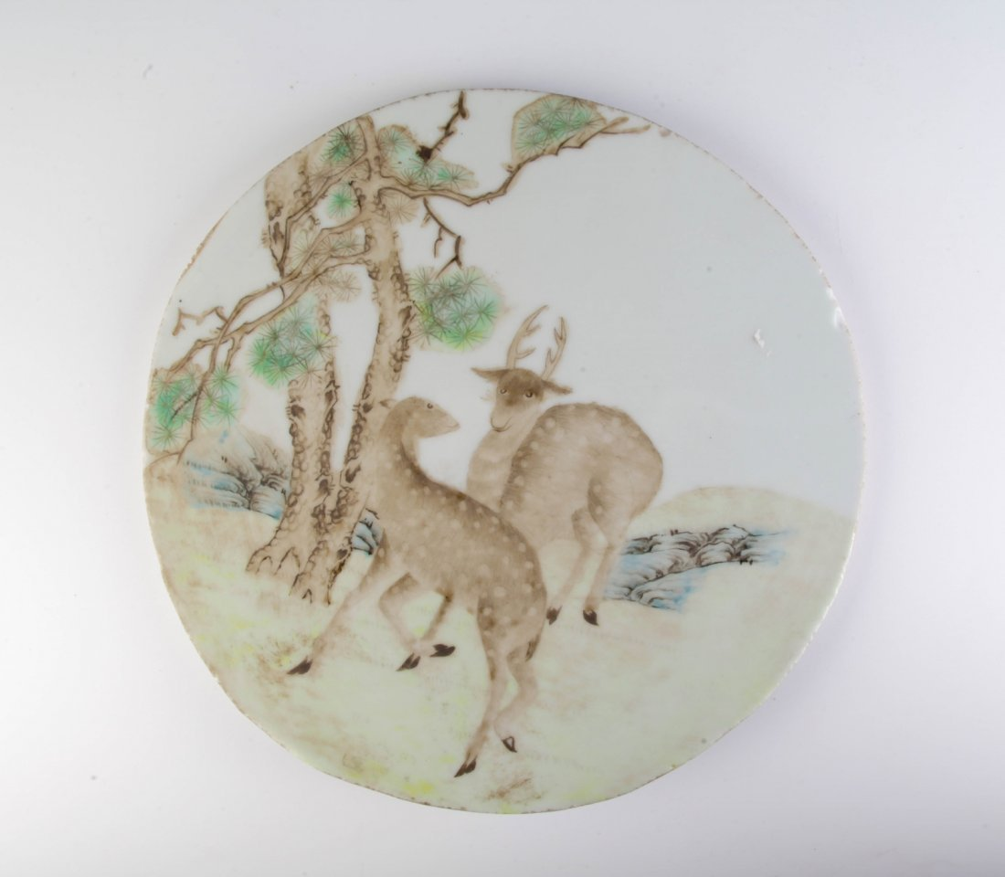 Chinese Porcelain Plaque w/ Two Deers