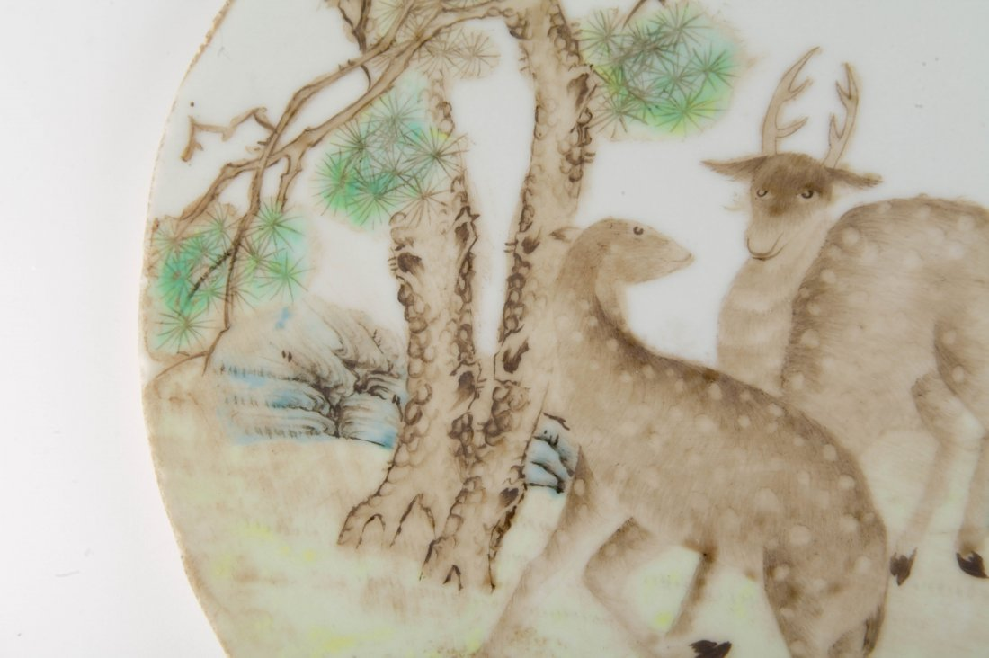 Chinese Porcelain Plaque w/ Two Deers - 3