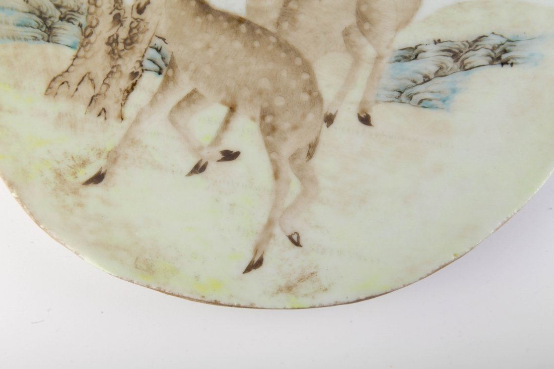 Chinese Porcelain Plaque w/ Two Deers - 4
