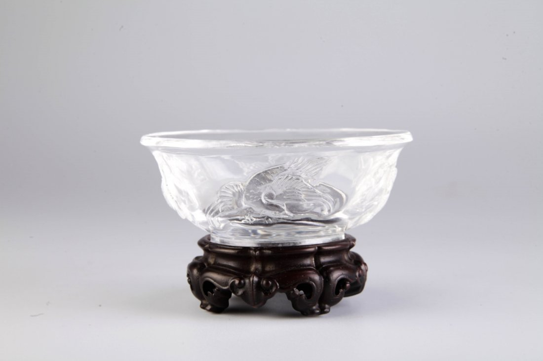 Chinese Crystal Carved Bowl w/ Four Mythical Beast - 2