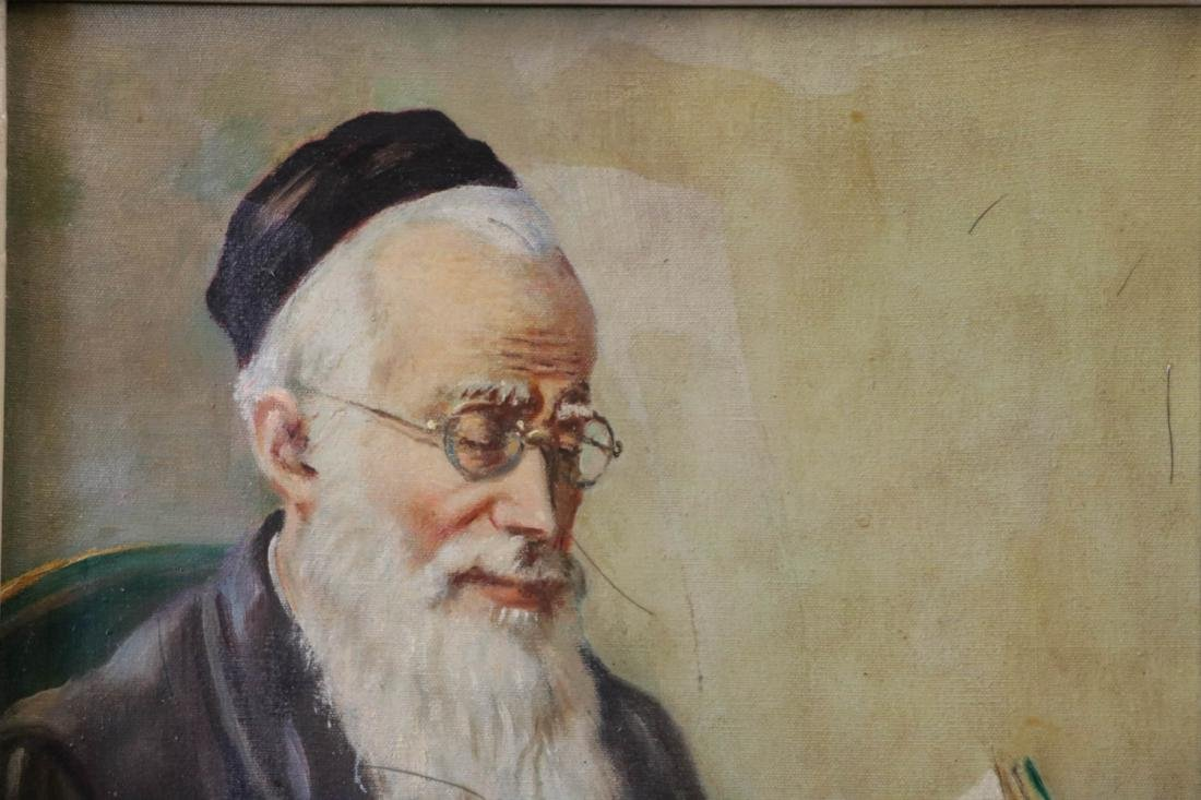 1950 Oil on Canvas Painting of a Rabbi Reading,Sig - 2