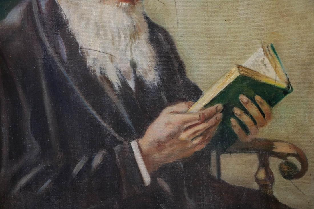1950 Oil on Canvas Painting of a Rabbi Reading,Sig - 3