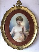 Germany KPM Porcelain Plaque of a Nude Girl,Signed