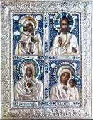 Russian Color Enamel Four Parts Icon