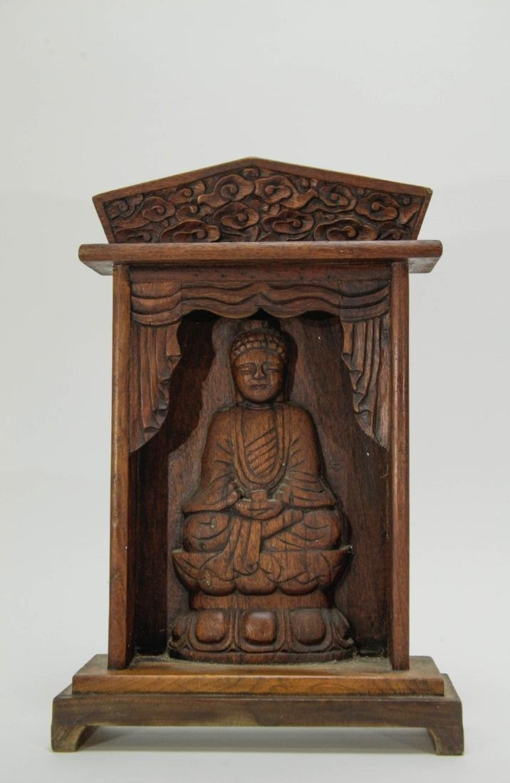 Chinese Wood Screen Carved Buddha
