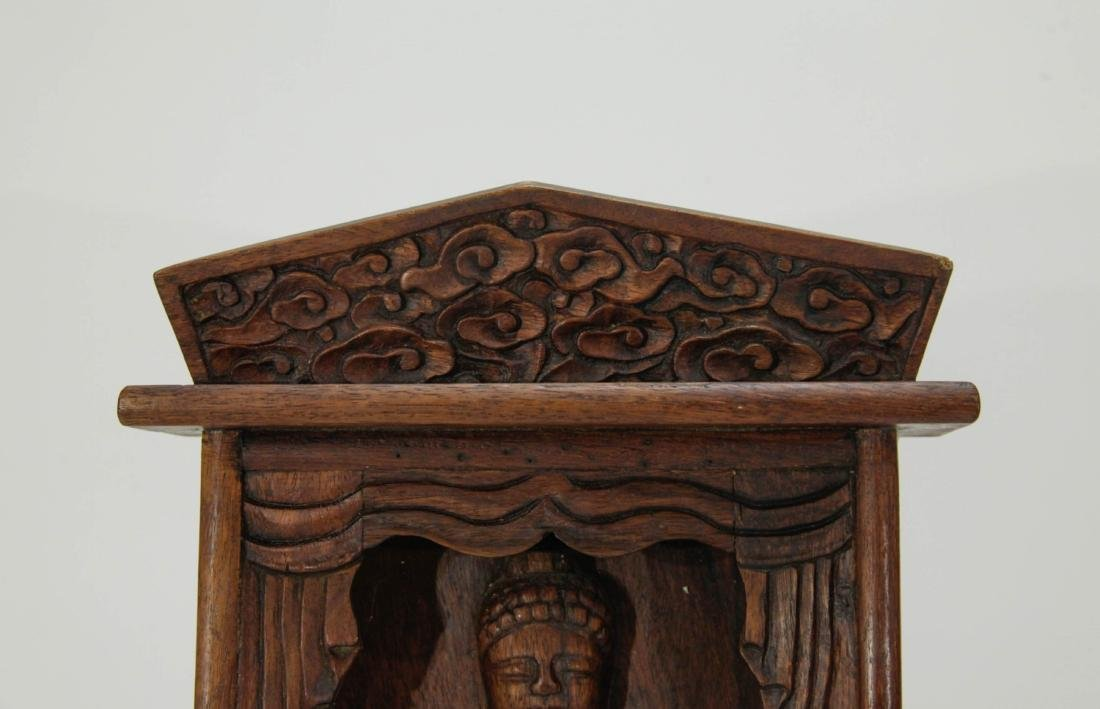 Chinese Wood Screen Carved Buddha - 2