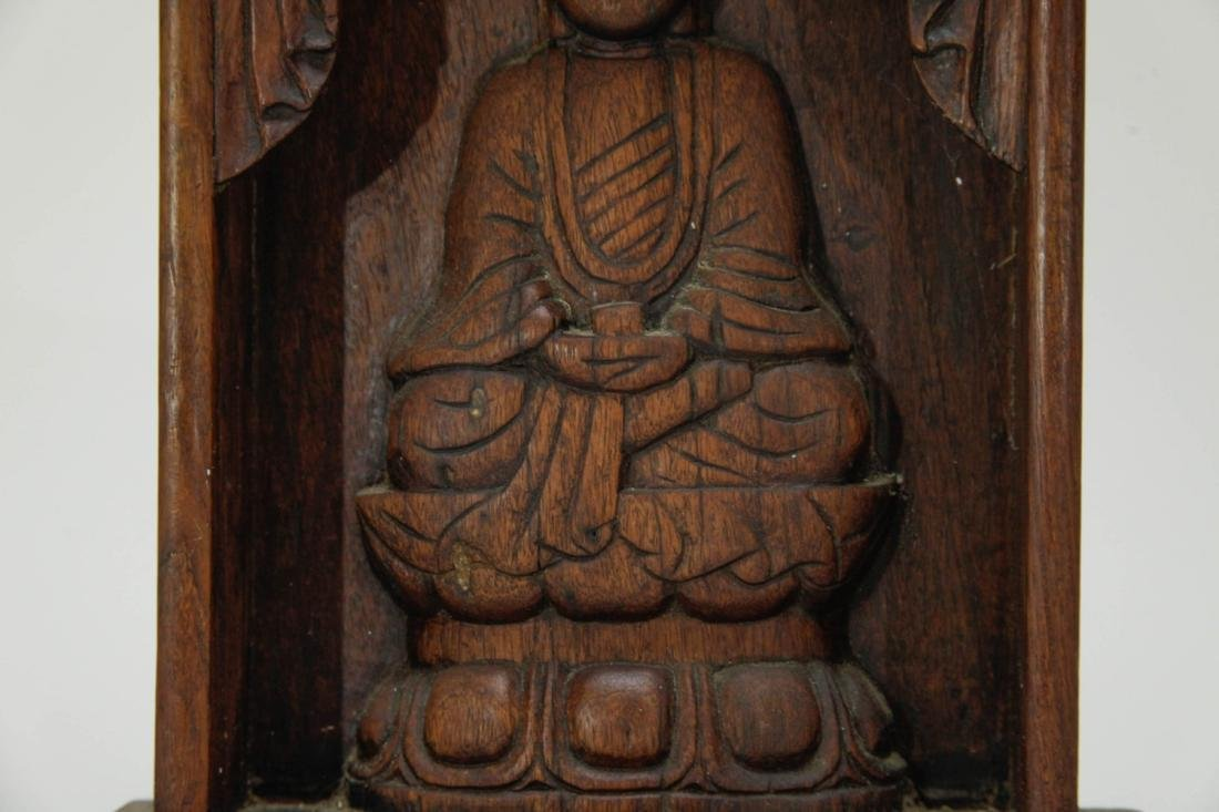 Chinese Wood Screen Carved Buddha - 4
