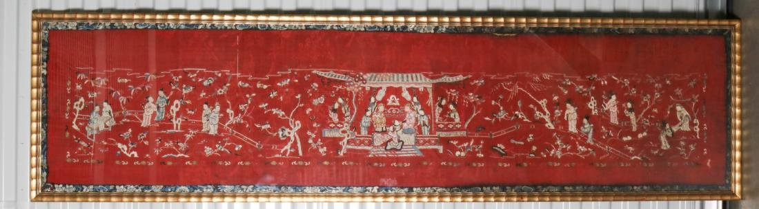 Chinese Silk Textile of Group of People, 19-20th C