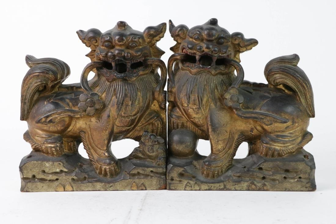 Pair QIng Wood Lions with Gilt